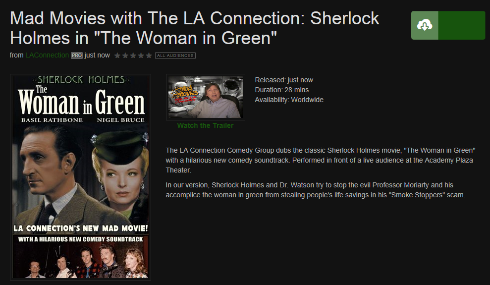 Mad Movies with the LA Connection: Sherlock Holmes in The Woman In Green